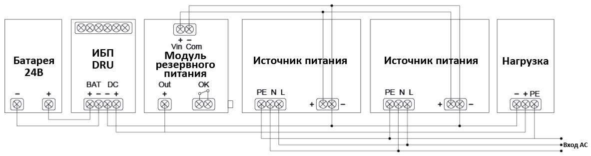 Схема подключения и работы DRU-24V40ABN в комплекте